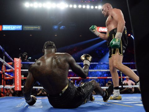 Tyson Fury beating Deontay Wilder